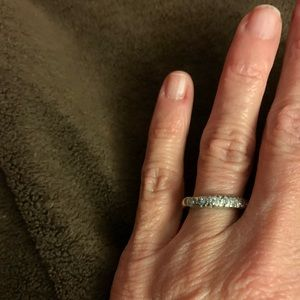 Vintage diamond and white gold band